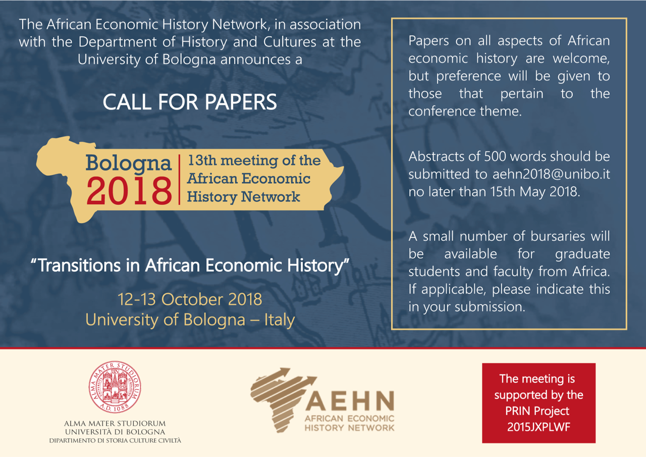 13th Annual Meeting of the African Economic History Network, will be held  12-13 October 2018 at the University of Bologna, Italy.